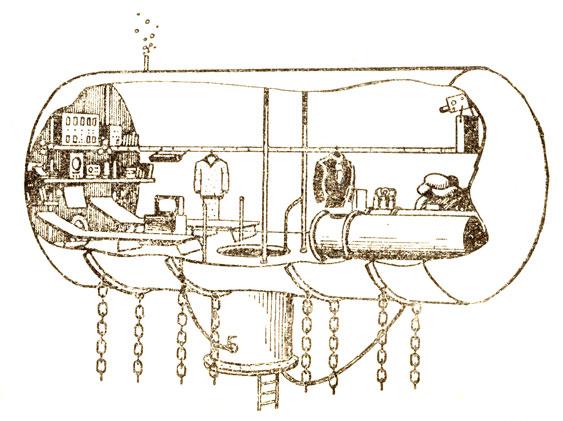 Схематический разрез 'Диогена' Жилище первых акванавтов было оборудовано двумя койками, инфракрасными обогревателями, телефоном, телевизором, радиоприемником, маленькой библиотекой, электроплиткой для разогревания пищи - словом, всем необходимым для жизни. В доме находились также две одноместные декомпрессионные камеры 'на всякий случай'