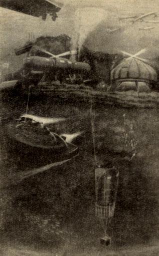 Общий вид подводного поселка 'Преконтинент II', расположившегося на уступе рифа На заднем плане - жилой дом 'Морская звезда' - главное сооружение комплекса. Слева от него - склад, справа - похожий на луковицу гараж для 'Денизы'. Ныряющее блюдце, возвращающееся после плавания к подножью рифа, изображено на переднем плане в центре рисунка. За 'околицей' поселка на крутом склоне рифа установлен глубоководный домик 'Ракета'. Электроэнергия, воздух для дыхания, пресная вода и пища подаются жителям подводной деревни о судов обеспечения 'Розальдо' и 'Калипсо'