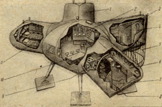 Схематический разрез подводного дома 'Морская звезда'  1 - спальный отсек; 2 - центральный пост управления; 3 - тамбур и гардероб; 4 - душ; 5 - 'акулья' клетка; в - лаборатория; 7 - туалет; ' - фотолаборатория; 9 - камбуз; 10 - обеденный стол; 11 - спальный отсек
