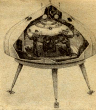 Заполненный сжатым воздухом купол служит гаражом Ныряющего блюдца Разборный деревянный настил удаляется, затем лебедка опускает Блюдце в воду, и его экипаж начинает очередное путешествие в глубины