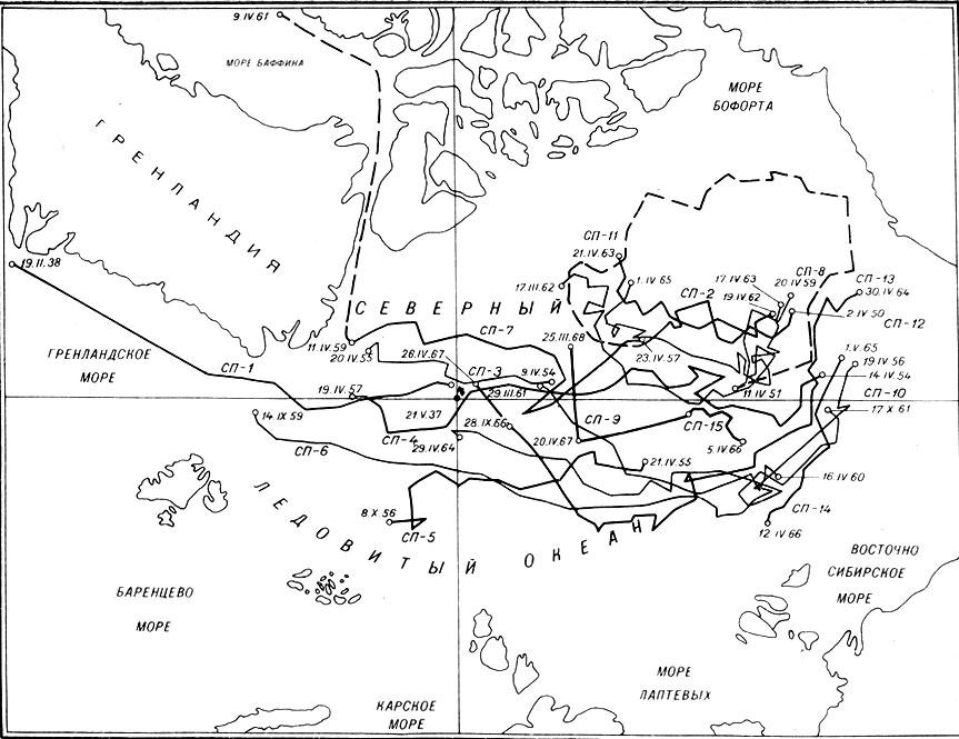Карта маршрутов дрейфующих